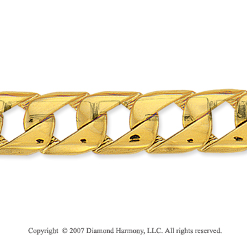 14k Yellow Gold Classic 1/2 inch Men's Cuban Z Bracelet