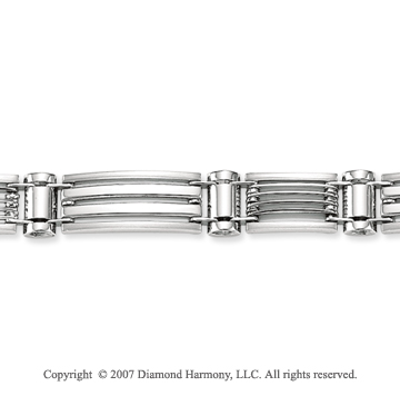 14k White Gold Modern 9.00mm Men's Stylish Bracelet