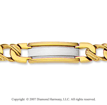 14k Two Tone Gold Modern 7.50mm Men's Stylish Bracelet