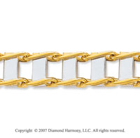 14k Two Tone Gold Trendy Regular 11.00mm Men's Bracelet