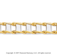 14k Two Tone Gold Trendy Regular 9.00mm Men's Bracelet