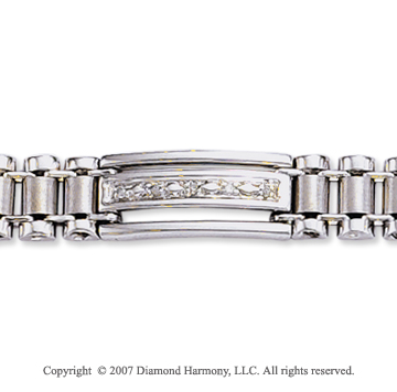 14k White Gold Classic Trendy 9.00mm Men's Diamond Bracelet