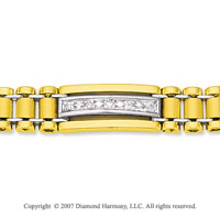 14k Two Tone  Gold Classic Trendy 9mm Men's Diamond Bracelet