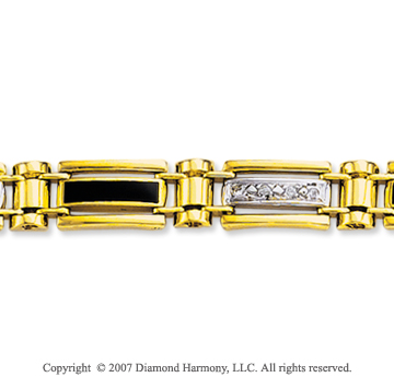 14k Two Tone Gold Onyx Carved Men's Diamond Bracelet