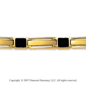 14k Yellow Gold Onyx Thin 6.00mm Men's Classic Bracelet