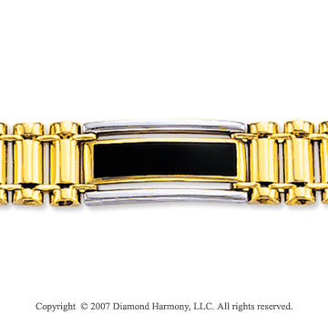 14k Two Tone Gold Onyx Wide 10mm Men's Style Bracelet