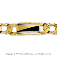 14k Yellow Gold Onyx Wide 11mm Men's Stylish Bracelet