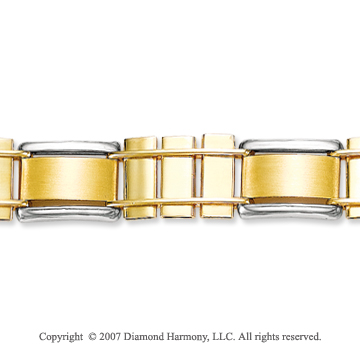 14k Two Tone Gold Wide 10.00mm Men's Classic Bracelet