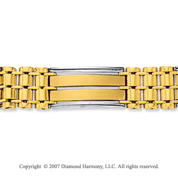 14k Two Tone Gold Classic Wide 10.00mm Men's Bracelet