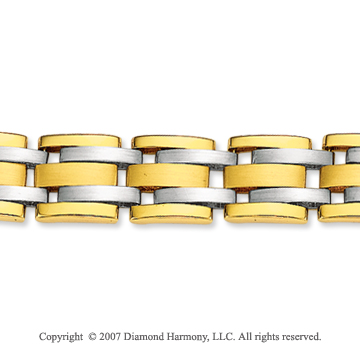 14k Two Tone Gold Wide 10.00mm Men's Stylish Bracelet