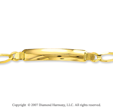 14k Yellow Gold Classy Regular 8.00mm Men's ID Bracelet