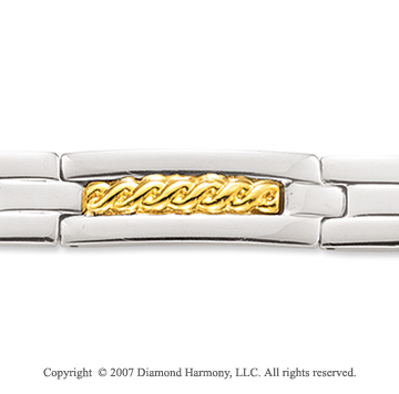18k Yellow Gold Carved Men's Stainless Steel Bracelet
