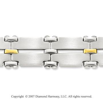 18k Y Gold Wide 12mm Men's Stainless Steel Bracelet