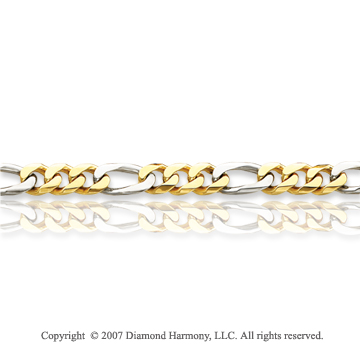 14k Two Tone Gold Stylish Links Medium Figaro Men's Bracelet