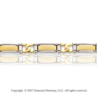 14k Two Tone Gold 10.50mm Status Link Men's Bracelet