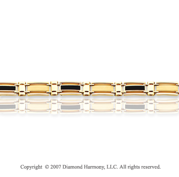 14k Yellow Gold 8mm Status Link Onyx Men's Bracelet