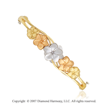 14k Tri Tone Gold Floral Charming Fashionable Bangle