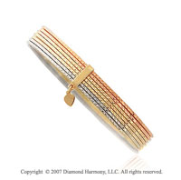 14k Tri Tone Gold Stylish Elegance 10mm Slip-on Bangle