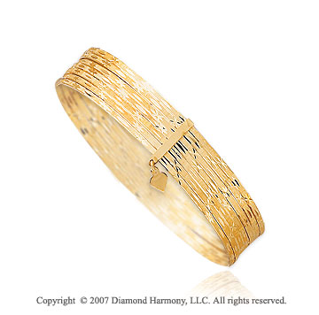 14k Yellow gold Stylish Elegance 10.00mm Slip-on Bangle