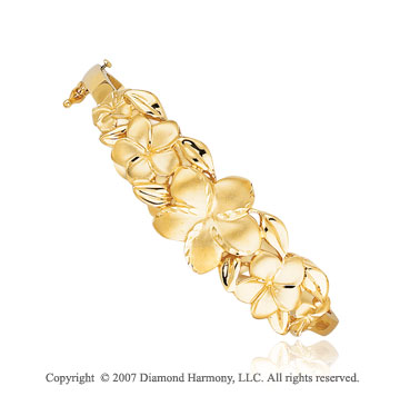 14k Yellow Gold Elegant Floral Row Diamond Cut Bangle
