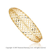 14k Yellow Gold Elegant Classy Hinge Diamond Cut Bangle