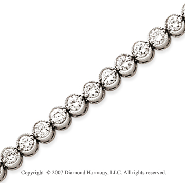 14k White Gold Bezel 4.30 Carat Diamond Tennis Bracelet