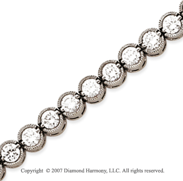 14k White Gold Bezel 5.45 Carat Diamond Tennis Bracelet