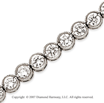 14k White Gold Bezel 7.00 Carat Diamond Tennis Bracelet