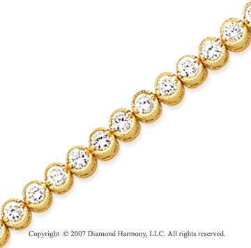 14k Yellow Gold Bezel 4.30 Carat Diamond Tennis Bracelet