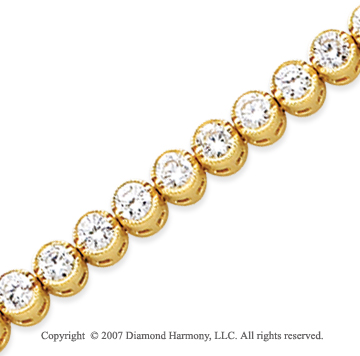 14k Yellow Gold Bezel 5.15 Carat Diamond Tennis Bracelet