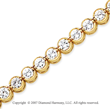 14k Yellow Gold Bezel 5.45 Carat Diamond Tennis Bracelet