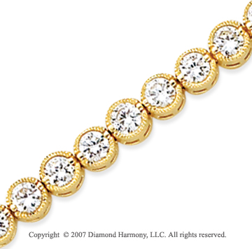 14k Yellow Gold Bezel 7.00 Carat Diamond Tennis Bracelet