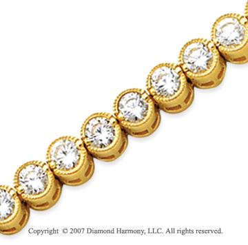 14k Yellow Gold Bezel 8.25 Carat Diamond Tennis Bracelet