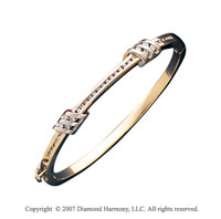 14k Two Tone Gold Stylish Channel 3/4 Carat Diamond Bangle