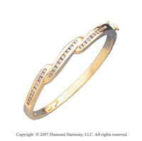 14k Yellow Gold Fashion Channel 1.10 Carat Diamond Bangle