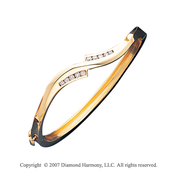 14k Yellow Gold Stylish Channel 2/5Ct Diamond Bangle