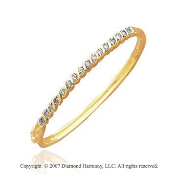 14k Yellow Gold Round Bezel 4/5 Carat Diamond Bangle