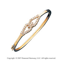 14k Yellow Gold Round Prong 0.90 Carat Diamond Bangle