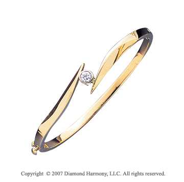 14k Yellow Gold Stylish Bezel 1/4 Carat Diamond Bangle