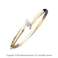 14k Yellow Gold Stylish Bezel 1/3 Carat Diamond Bangle