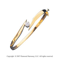 14k Yellow Gold Stylish Bezel 2/5 Carat Diamond Bangle