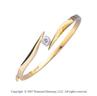 14k Yellow Gold Stylish Bezel 1/2 Carat Diamond Bangle