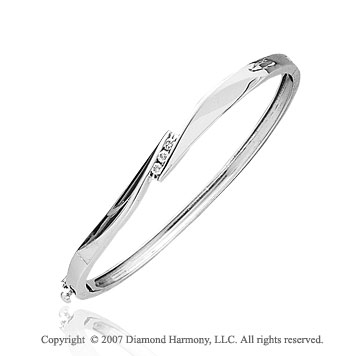 14k White Gold Elegant Round Channel 1/6Ct Diamond Bangle