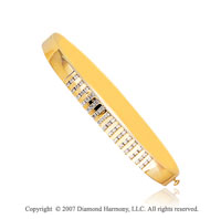 14k Yellow Gold Multi Channel 1 1/6 Carat Diamond Bangle