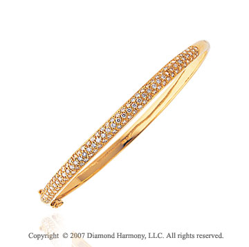 14k Yellow Gold Classic Prong 1.30 Carat Diamond Bangle