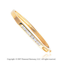 14k Yellow Gold Modern Channel 0.90 Carat Diamond Bangle