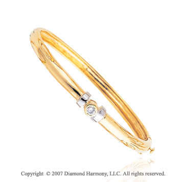 14k Yellow Gold Bezel Round 1/4 Carat Diamond Bangle