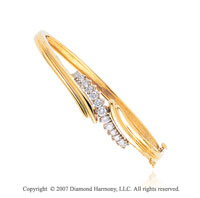 14k Yellow Gold Great Fashion 1.05 Carat Diamond Bangle