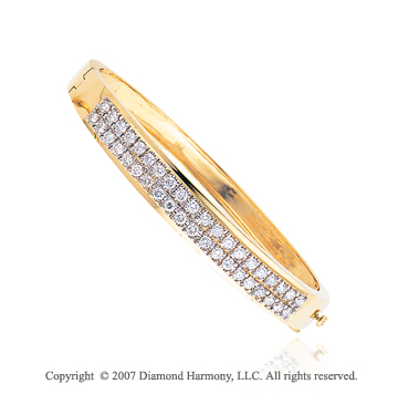14k Yellow Gold Grand Prong 2 1/3 Carat Diamond Bangle
