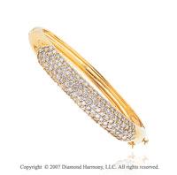 14k Yellow Gold Grand Prong 5.70 Carat Diamond Bangle